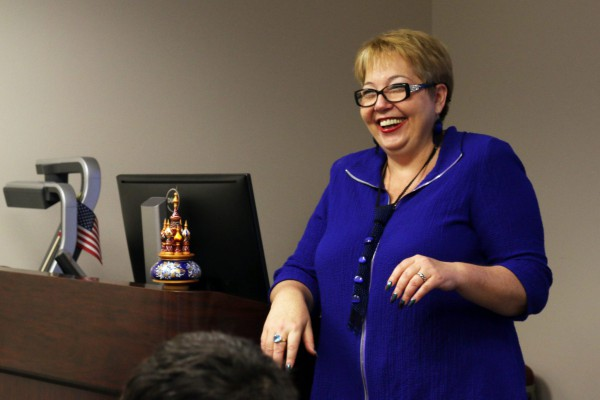 Dr. Kourova during a presentation